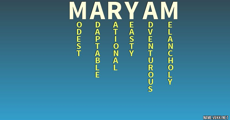 The meaning of maryam - Name meanings